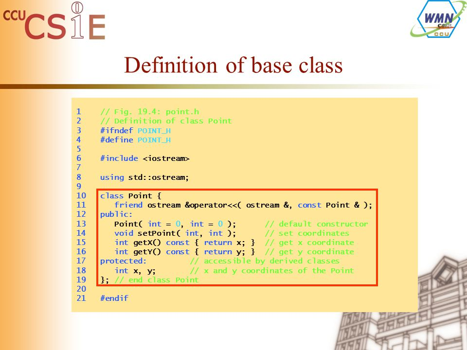 Definition of base class 1 // Fig.