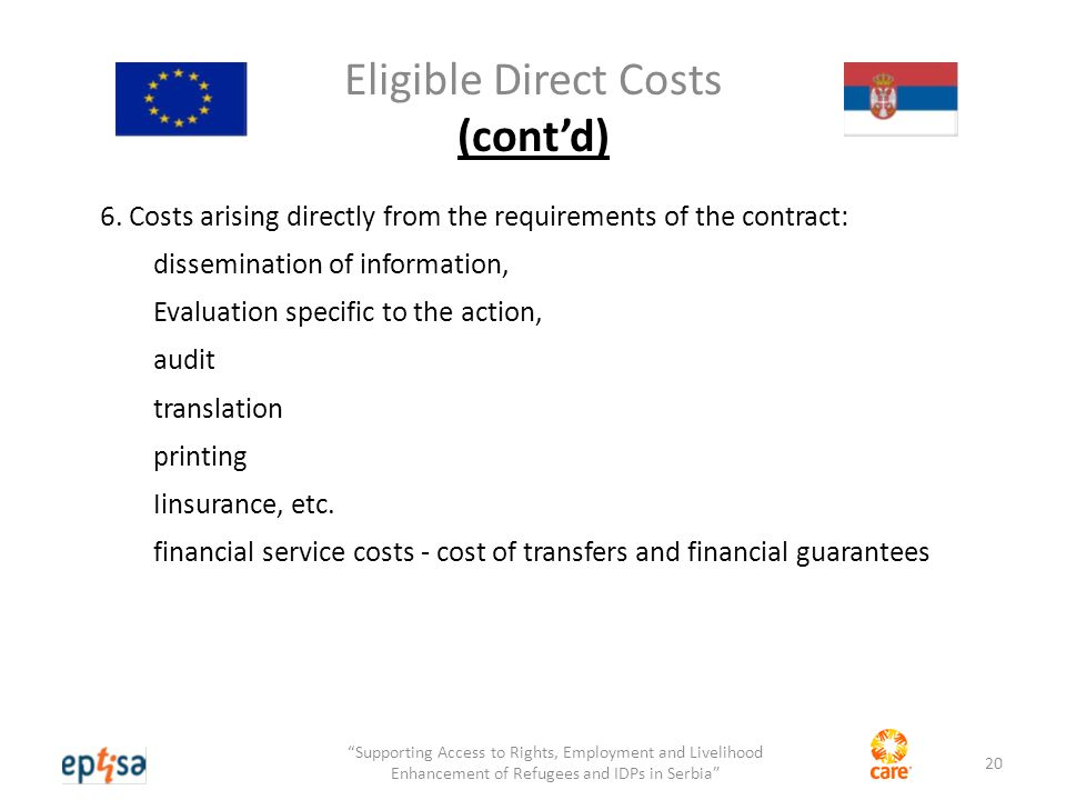 Eligible Direct Costs (cont'd) 6.