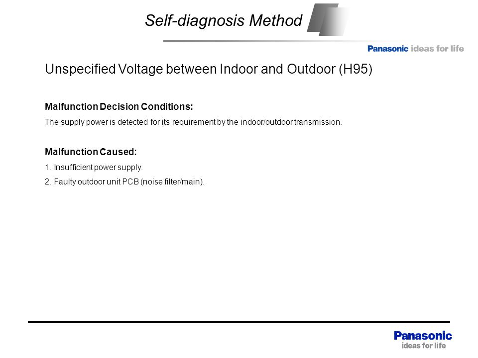 Self-diagnosis Method Unspecified Voltage between Indoor and Outdoor (H95) Malfunction Decision Conditions: The supply power is detected for its requirement by the indoor/outdoor transmission.