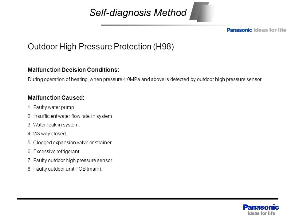 Self-diagnosis Method Outdoor High Pressure Protection (H98) Malfunction Decision Conditions: During operation of heating, when pressure 4.0MPa and above is detected by outdoor high pressure sensor.