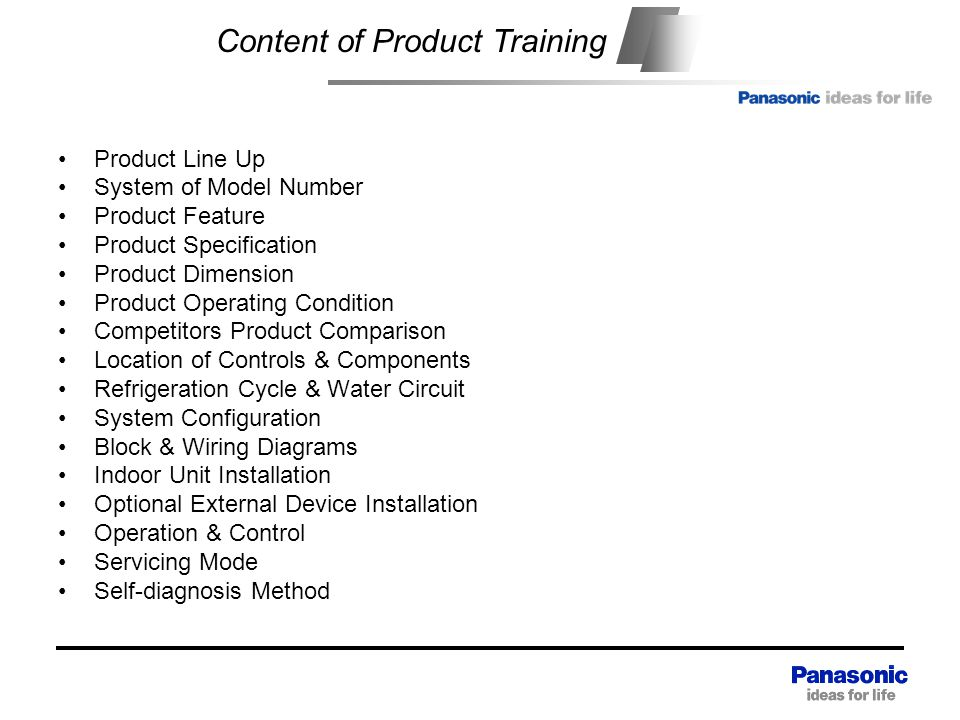 Content Content of Product Training Product Line Up System of Model Number Product Feature Product Specification Product Dimension Product Operating Condition Competitors Product Comparison Location of Controls & Components Refrigeration Cycle & Water Circuit System Configuration Block & Wiring Diagrams Indoor Unit Installation Optional External Device Installation Operation & Control Servicing Mode Self-diagnosis Method