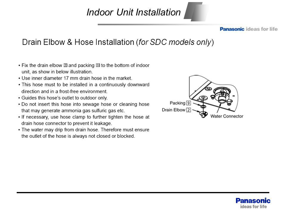 Heat exchange unit Indoor Unit Installation Drain Elbow & Hose Installation (for SDC models only)