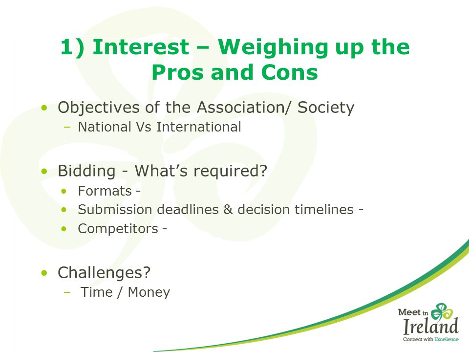 1) Interest – Weighing up the Pros and Cons Objectives of the Association/ Society –National Vs International Bidding - What's required? Formats - Sub