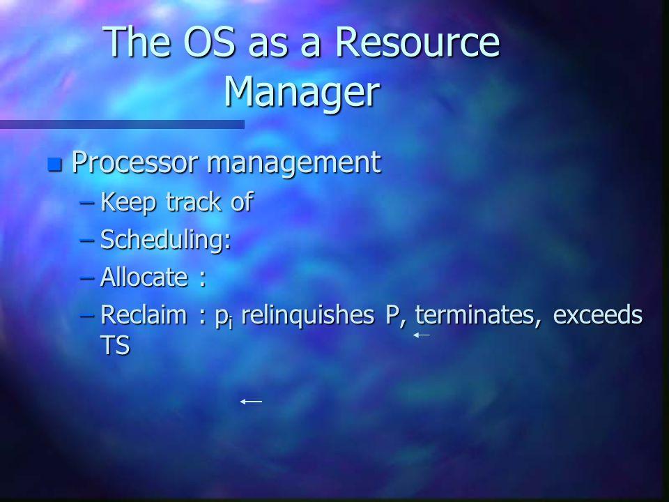 Processor Scheduling Algorithms n Let's optimize as follows : –Maximize CPU utilization, throughput –Minimize turnaround time (TT), wait, response time.