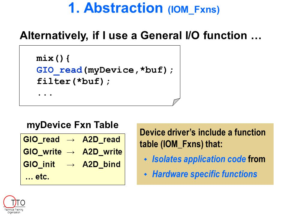 1. Abstraction (IOM_Fxns) Alternatively, if I use a General I/O function … mix(){ GIO_read(myDevice,*buf); filter(*buf);... Device driver's include a