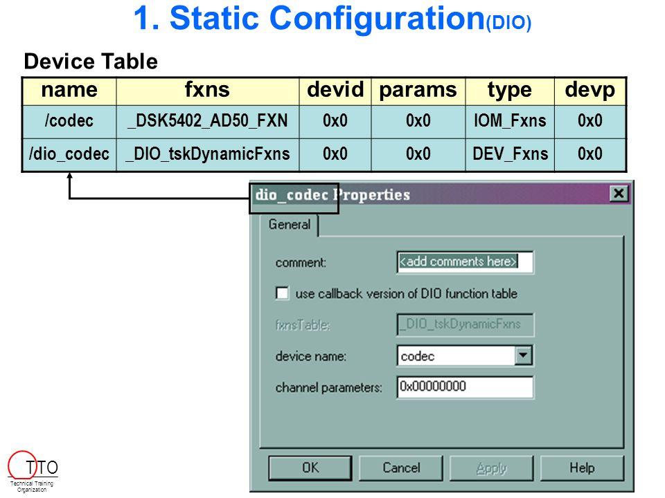 1. Static Configuration (DIO) namefxnsdevidparamstypedevp /codec_DSK5402_AD50_FXN0x0 IOM_Fxns0x0 /dio_codec_DIO_tskDynamicFxns0x0 DEV_Fxns0x0 Device T