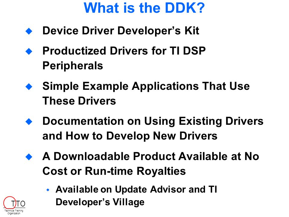 What is the DDK.