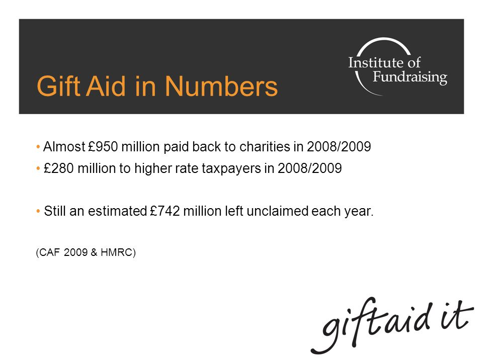 Gift Aid On donations from UK taxpayers (income and capital gains tax) 2010 budget extended Gift Aid to eligible EU, Norwegian and Icelandic charities The charity claims tax paid on donations Donors must complete a declaration – oral or written Both UK and non-UK Charities must be registered with HMRC for tax purposes to claim Gift Aid.