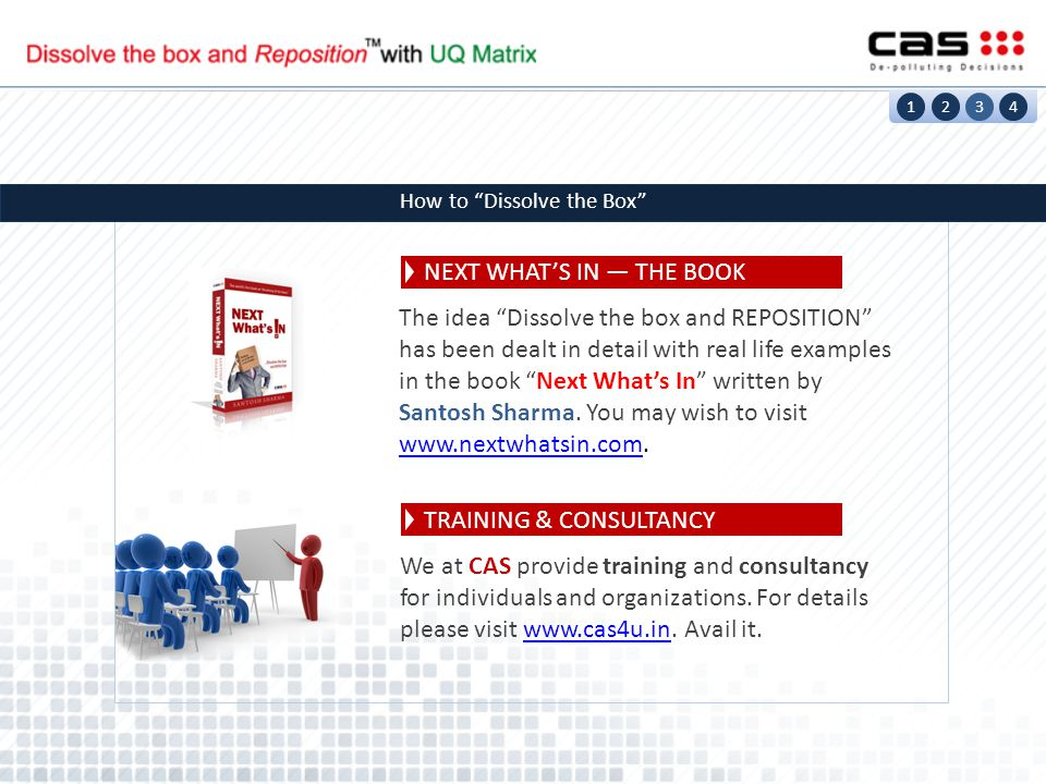 1234 How to Dissolve the Box NEXT WHAT'S IN — THE BOOK TRAINING & CONSULTANCY The idea Dissolve the box and REPOSITION has been dealt in detail with real life examples in the book Next What's In written by Santosh Sharma.