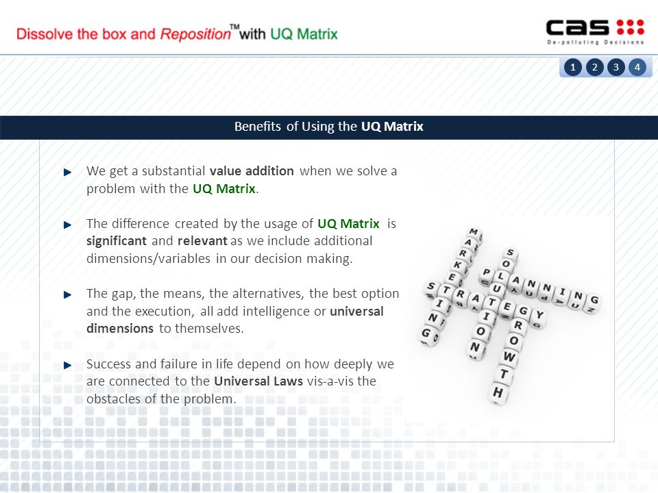 We get a substantial value addition when we solve a problem with the UQ Matrix. The difference created by the usage of UQ Matrix is significant and re