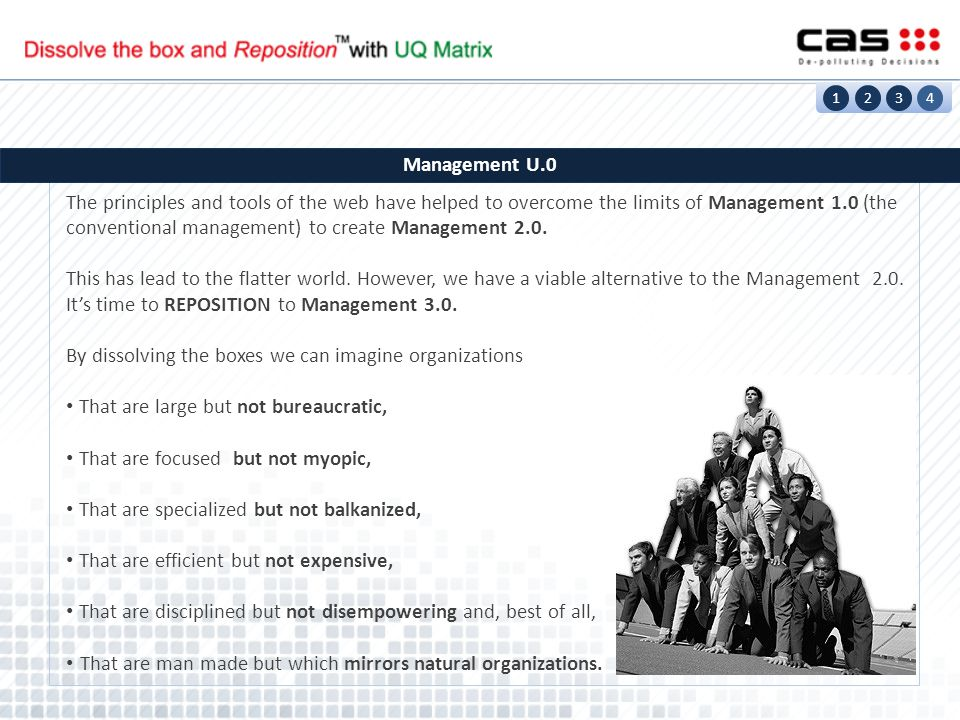 1234 Management U.0 The principles and tools of the web have helped to overcome the limits of Management 1.0 (the conventional management) to create Management 2.0.
