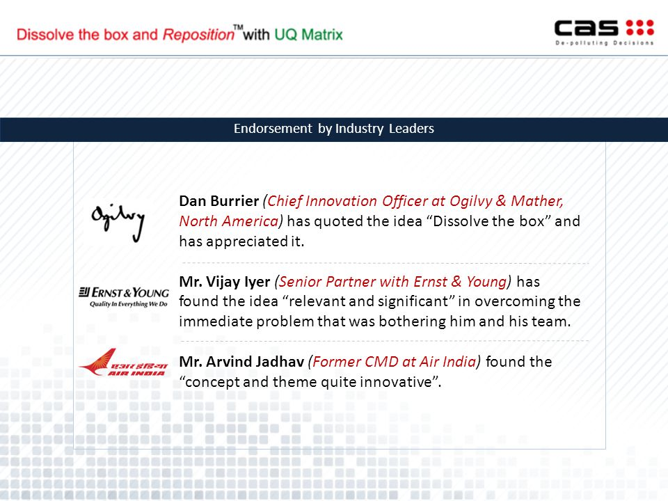 """Dan Burrier (Chief Innovation Officer at Ogilvy & Mather, North America) has quoted the idea """"Dissolve the box"""" and has appreciated it. Mr. Vijay Iyer"""
