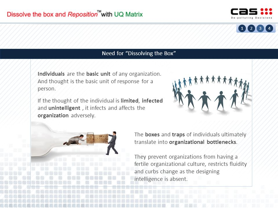 The boxes and traps of individuals ultimately translate into organizational bottlenecks.