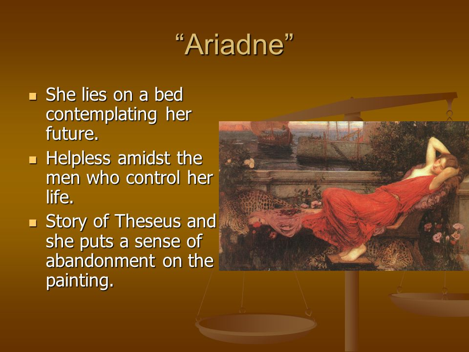 """Ariadne"" She lies on a bed contemplating her future. She lies on a bed contemplating her future. Helpless amidst the men who control her life. Helple"