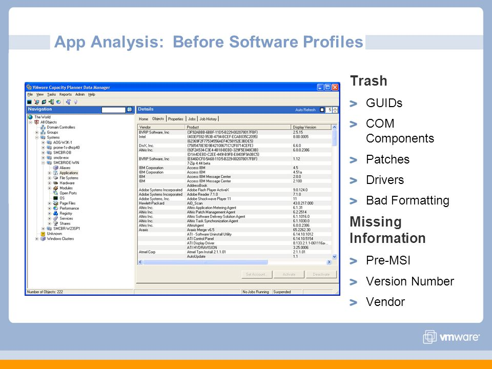 App Analysis: Before Software Profiles Trash GUIDs COM Components Patches Drivers Bad Formatting Missing Information Pre-MSI Version Number Vendor
