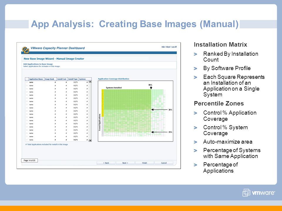 App Analysis: Creating Base Images (Manual) Installation Matrix Ranked By Installation Count By Software Profile Each Square Represents an Installation of an Application on a Single System Percentile Zones Control % Application Coverage Control % System Coverage Auto-maximize area Percentage of Systems with Same Application Percentage of Applications