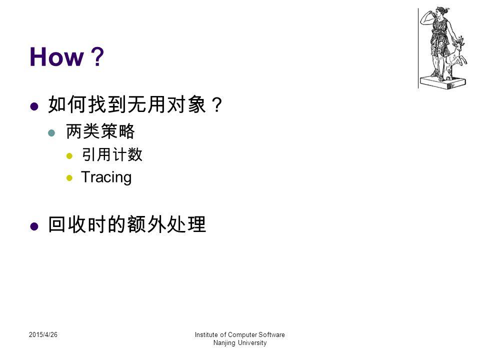 2015/4/26Institute of Computer Software Nanjing University How ? 如何找到无用对象? 两类策略 引用计数 Tracing 回收时的额外处理