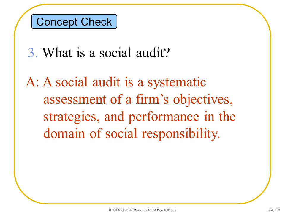© 2006 McGraw-Hill Companies, Inc., McGraw-Hill/IrwinSlide 4-32 Concept Check 3. What is a social audit? A: A social audit is a systematic assessment