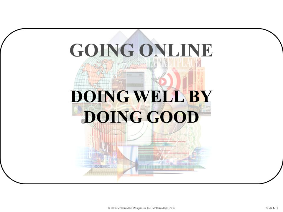 © 2006 McGraw-Hill Companies, Inc., McGraw-Hill/IrwinSlide 4-33 DOING WELL BY DOING GOOD GOING ONLINE