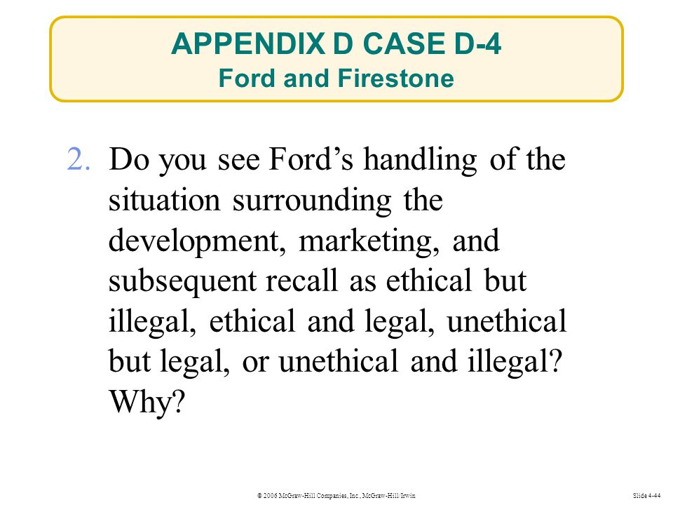 © 2006 McGraw-Hill Companies, Inc., McGraw-Hill/IrwinSlide 4-44 2. Do you see Ford's handling of the situation surrounding the development, marketing,
