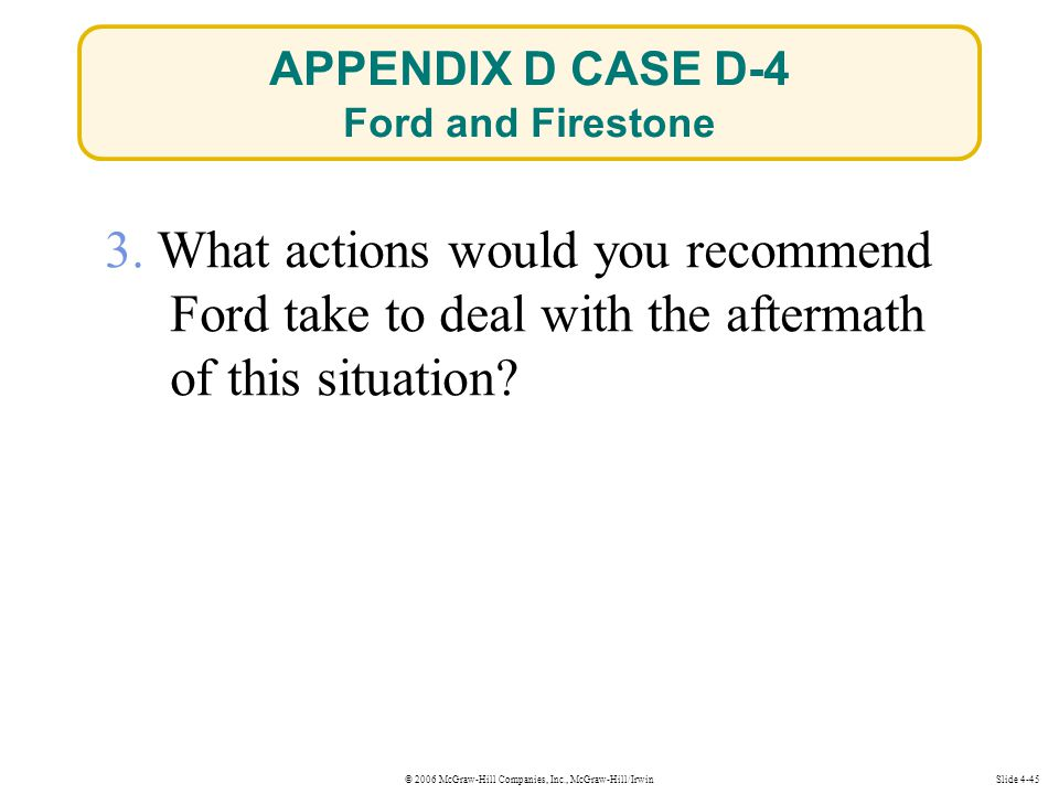 © 2006 McGraw-Hill Companies, Inc., McGraw-Hill/IrwinSlide 4-45 3. What actions would you recommend Ford take to deal with the aftermath of this situa