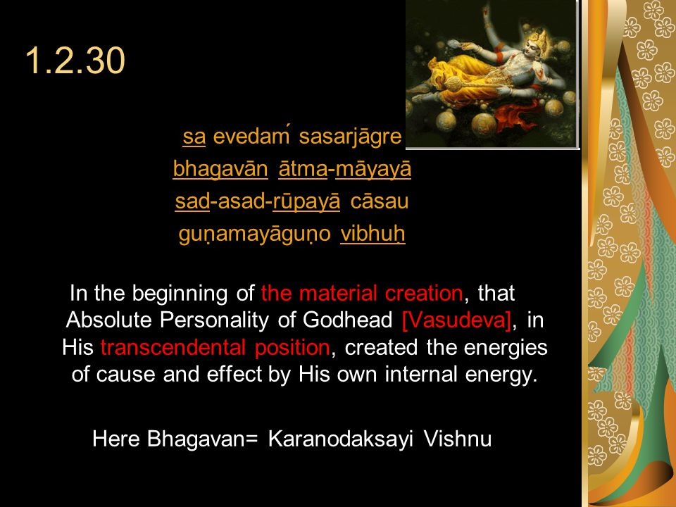 1.2.30 sasa evedaḿ sasarjāgre bhagavānbhagavān ātma-māyayāātmamāyayā sadsad-asad-rūpayā cāsaurūpayā guṇamayāguṇo vibhuḥvibhuḥ In the beginning of the material creation, that Absolute Personality of Godhead [Vasudeva], in His transcendental position, created the energies of cause and effect by His own internal energy.