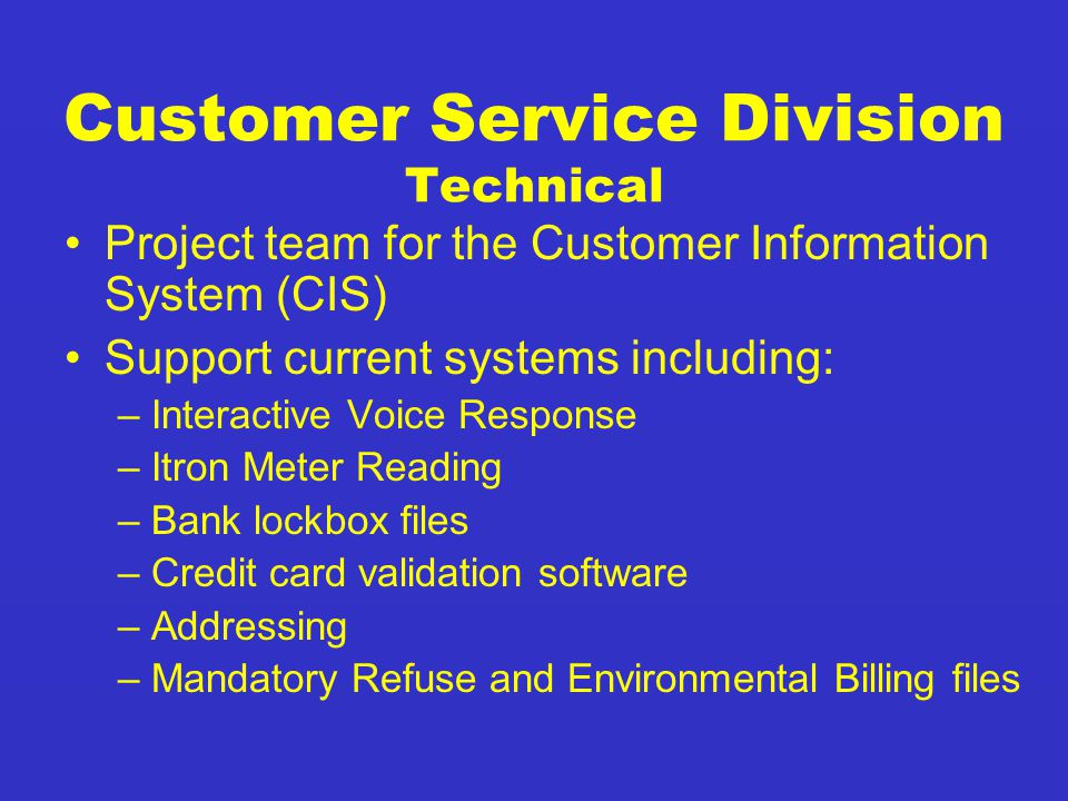 Customer Service Division Technical Project team for the Customer Information System (CIS) Support current systems including: –Interactive Voice Response –Itron Meter Reading –Bank lockbox files –Credit card validation software –Addressing –Mandatory Refuse and Environmental Billing files