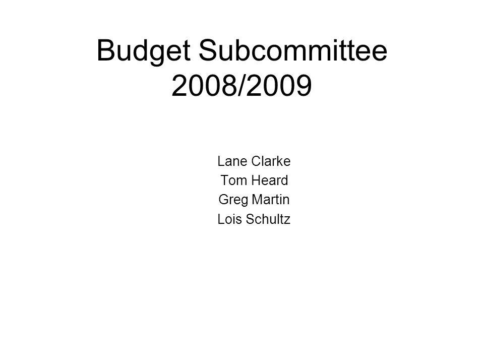 Budget Subcommittee 2008/2009 Lane Clarke Tom Heard Greg Martin Lois Schultz
