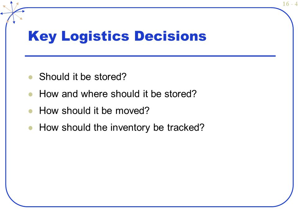 16 - 4 Key Logistics Decisions Should it be stored.