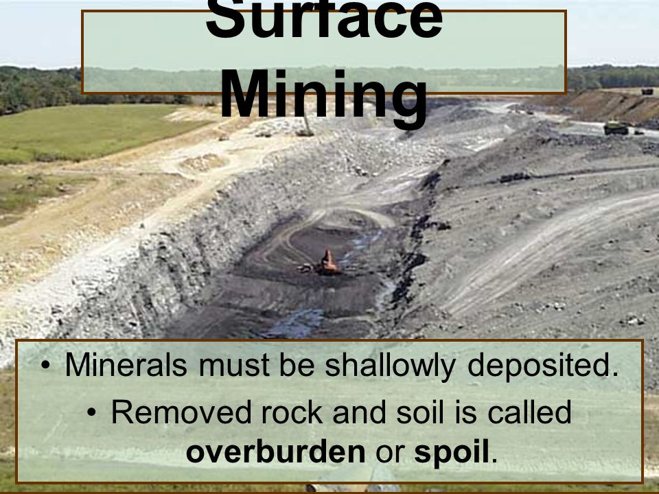 Surface Mining Minerals must be shallowly deposited.