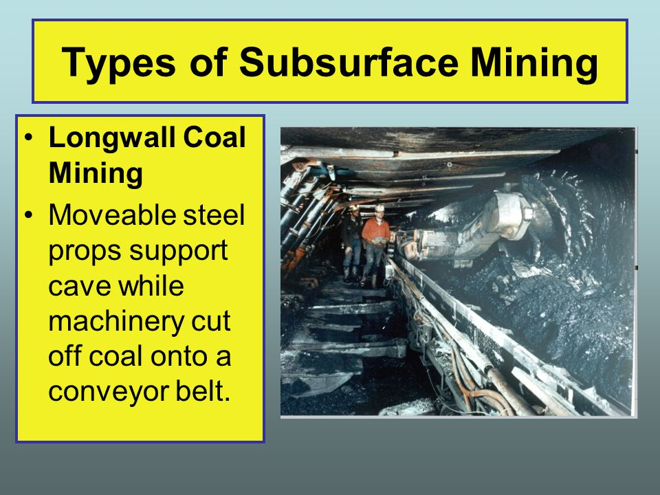 Longwall Coal Mining Moveable steel props support cave while machinery cut off coal onto a conveyor belt.
