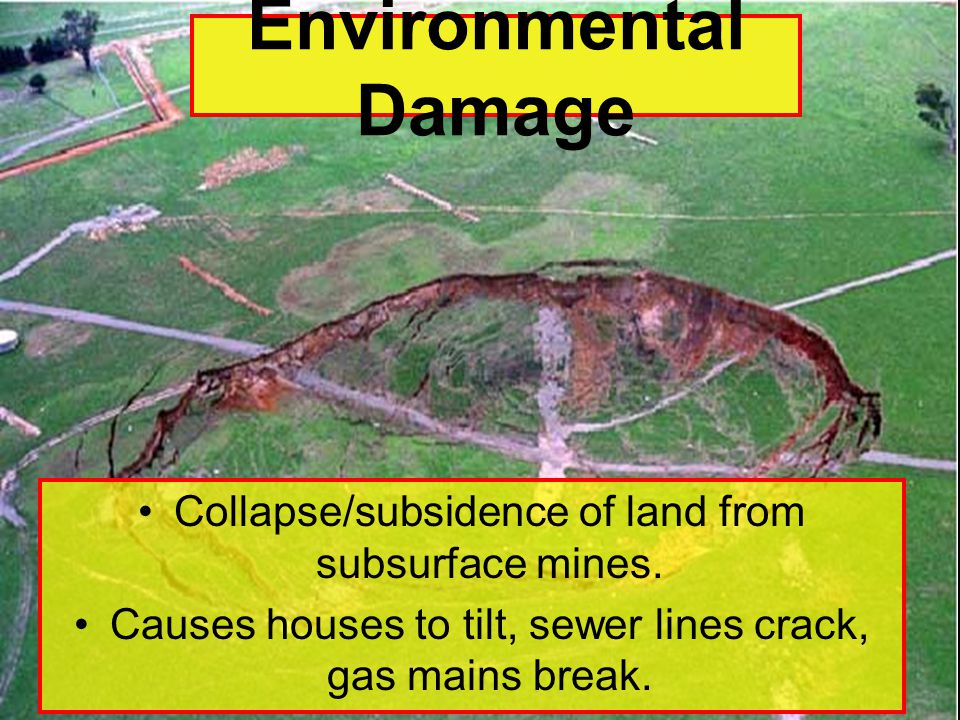 Collapse/subsidence of land from subsurface mines.