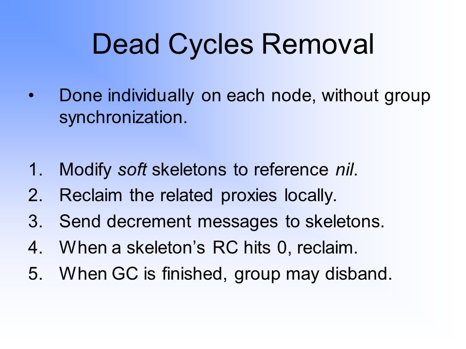 Dead Cycles Removal Done individually on each node, without group synchronization.