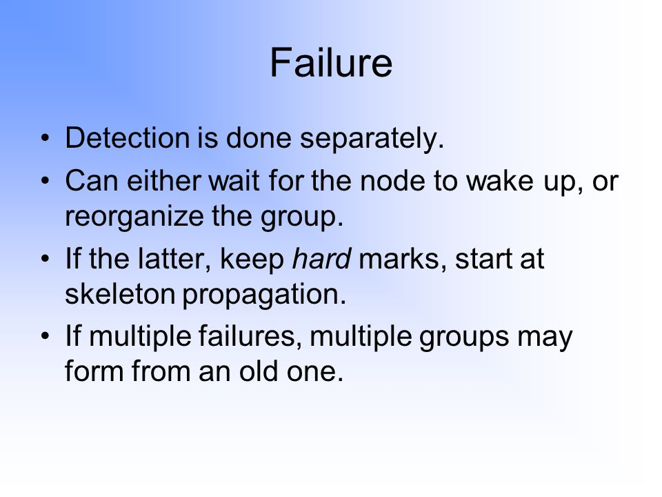 Failure Detection is done separately.
