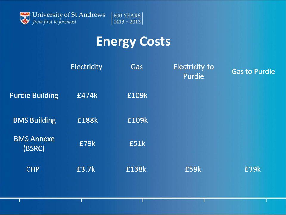 Energy Costs ElectricityGasElectricity to Purdie Gas to Purdie Purdie Building£474k£109k BMS Building£188k£109k BMS Annexe (BSRC) £79k£51k CHP£3.7k£138k£59k£39k