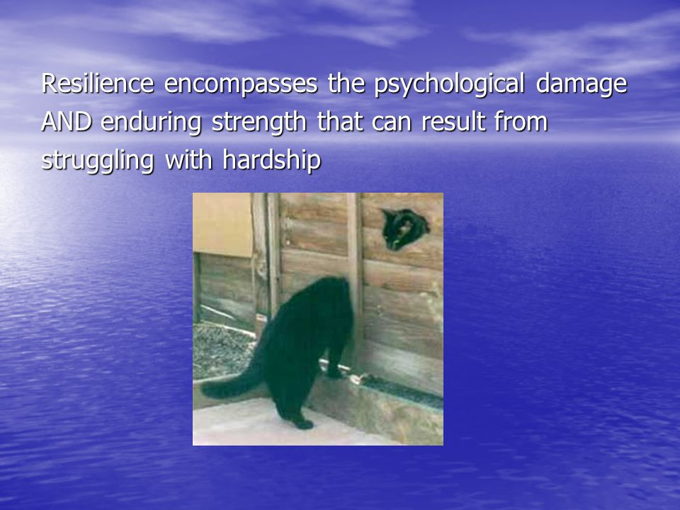 Resilience encompasses the psychological damage AND enduring strength that can result from struggling with hardship