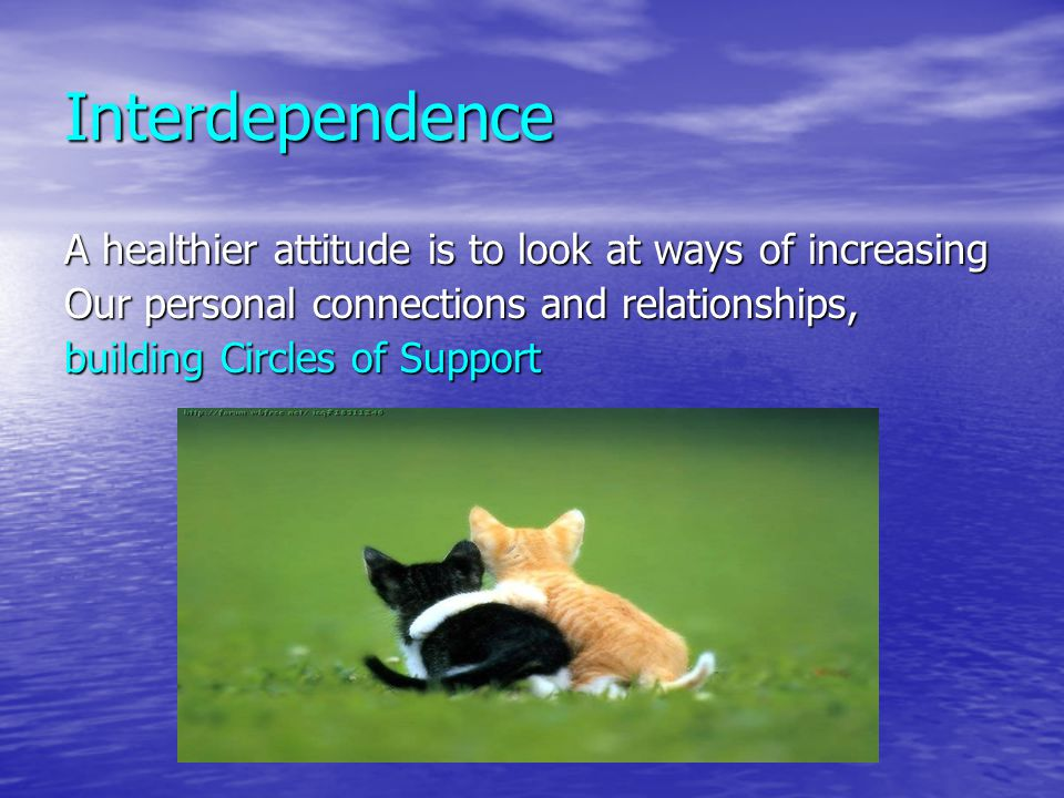 Interdependence A healthier attitude is to look at ways of increasing Our personal connections and relationships, building Circles of Support
