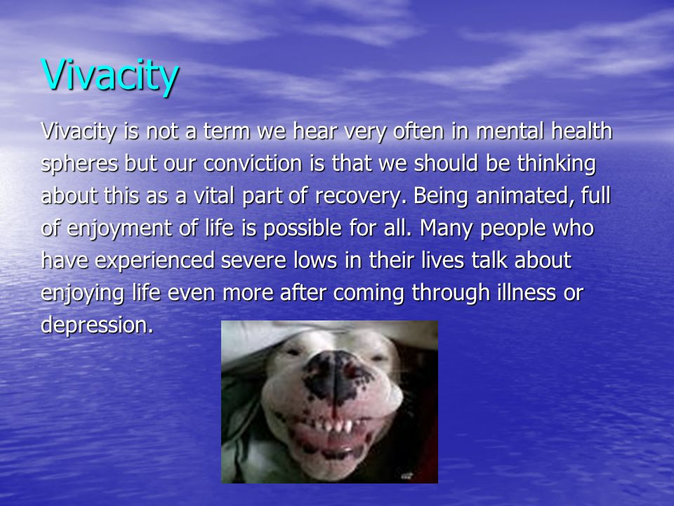 Vivacity Vivacity is not a term we hear very often in mental health spheres but our conviction is that we should be thinking about this as a vital par