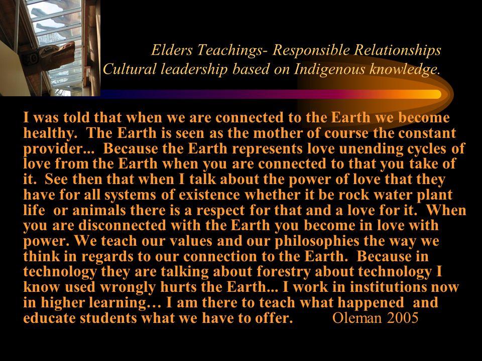 Elders Teachings- Responsible Relationships Positive Cultural leadership based on Indigenous knowledge.