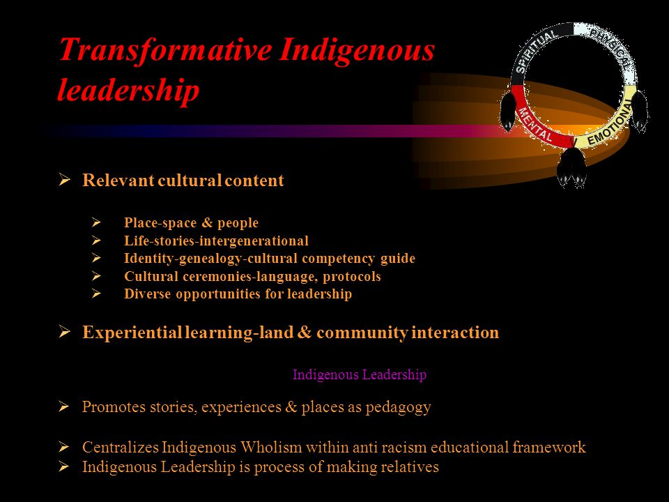 Transformative Indigenous leadership  Relevant cultural content  Place-space & people  Life-stories-intergenerational  Identity-genealogy-cultural competency guide  Cultural ceremonies-language, protocols  Diverse opportunities for leadership  Experiential learning-land & community interaction Indigenous Leadership  Promotes stories, experiences & places as pedagogy  Centralizes Indigenous Wholism within anti racism educational framework  Indigenous Leadership is process of making relatives