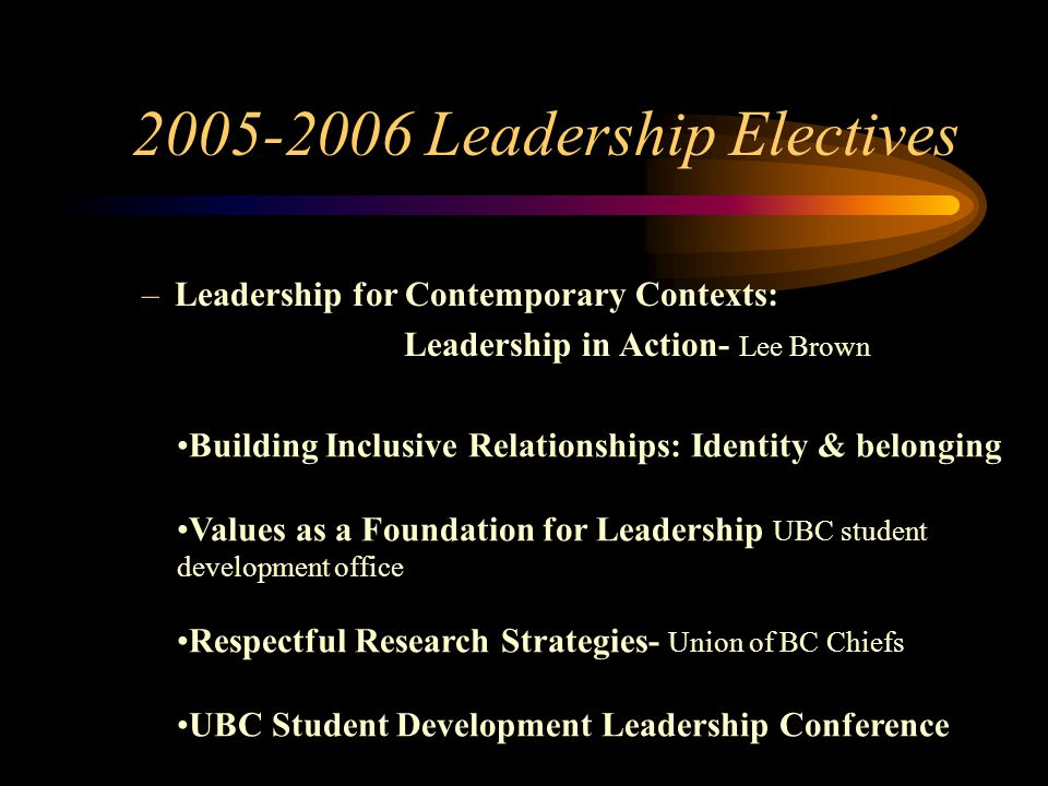 2005-2006 Leadership Electives –Leadership for Contemporary Contexts: Leadership in Action- Lee Brown Building Inclusive Relationships: Identity & bel