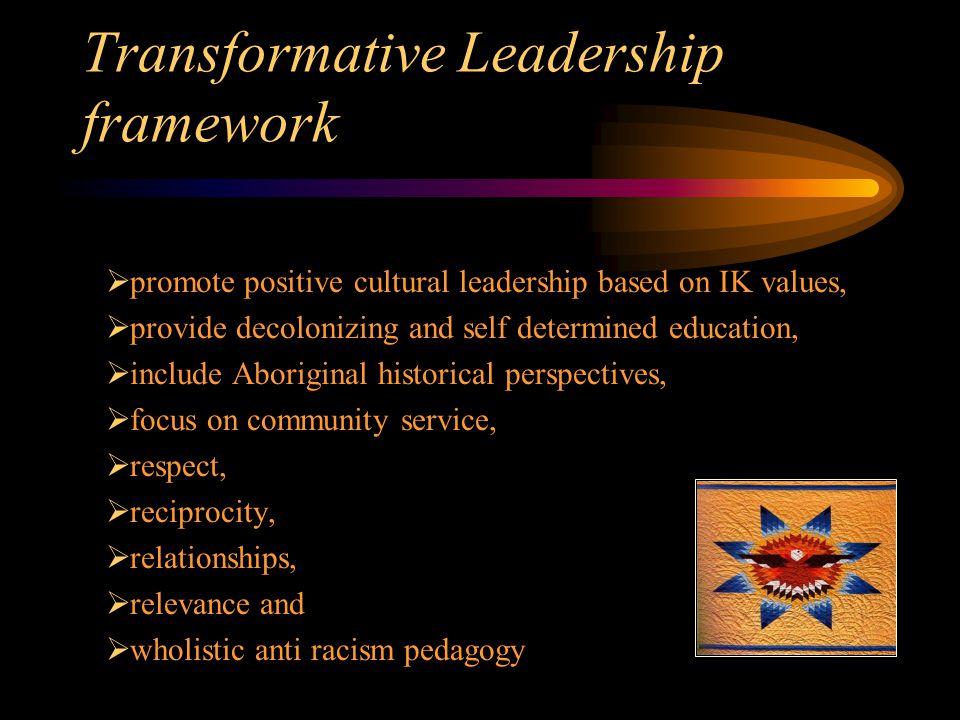 Transformative Leadership framework  promote positive cultural leadership based on IK values,  provide decolonizing and self determined education, 