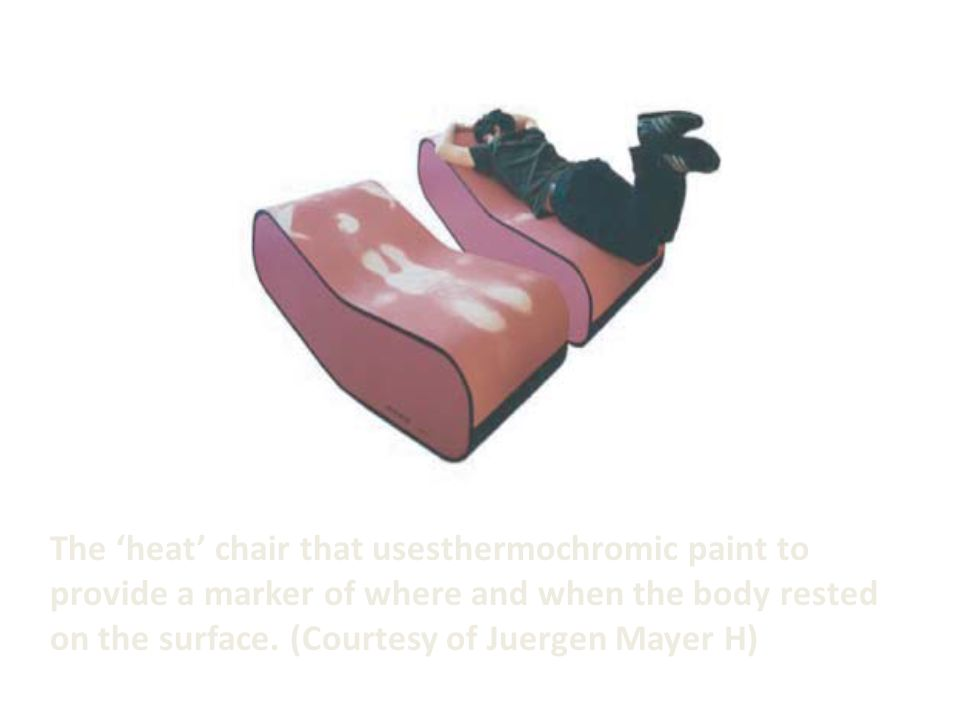 The 'heat' chair that usesthermochromic paint to provide a marker of where and when the body rested on the surface.