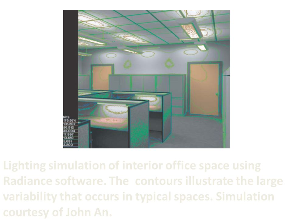 Lighting simulation of interior office space using Radiance software.