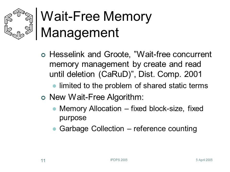 "5 April 2005IPDPS 2005 11 Wait-Free Memory Management Hesselink and Groote, ""Wait-free concurrent memory management by create and read until deletion"
