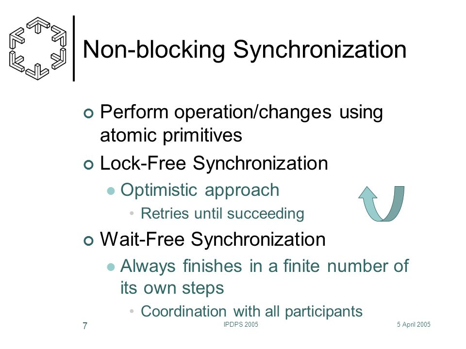 5 April 2005IPDPS 2005 7 Non-blocking Synchronization Perform operation/changes using atomic primitives Lock-Free Synchronization Optimistic approach