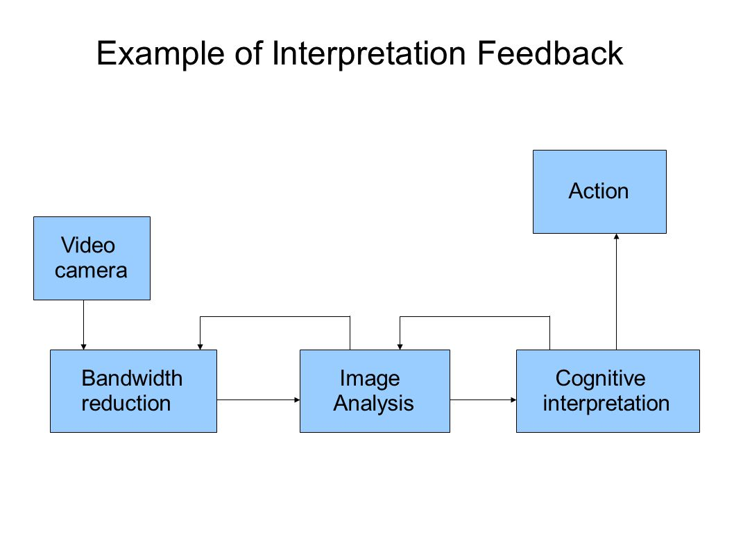 Example of Interpretation Feedback Bandwidth reduction Video camera Image Analysis Cognitive interpretation Action