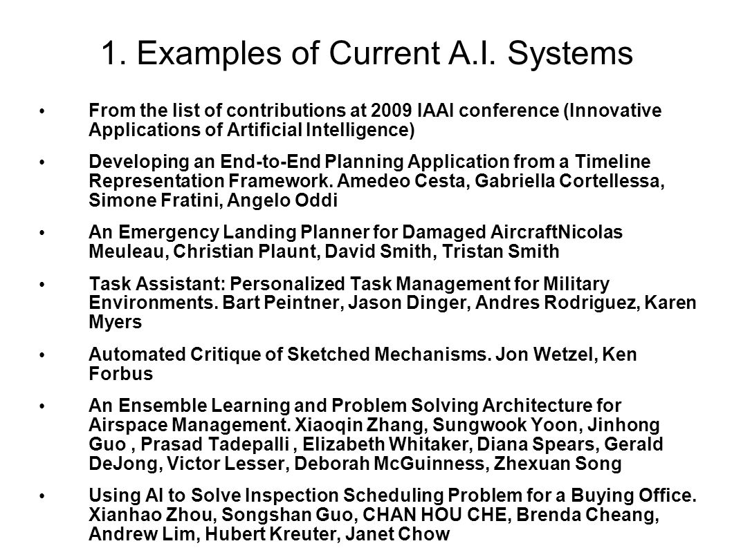 1. Examples of Current A.I.