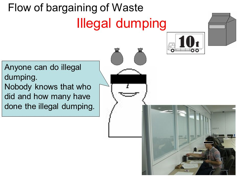 Flow of bargaining of Waste Illegal dumping Anyone can do illegal dumping.