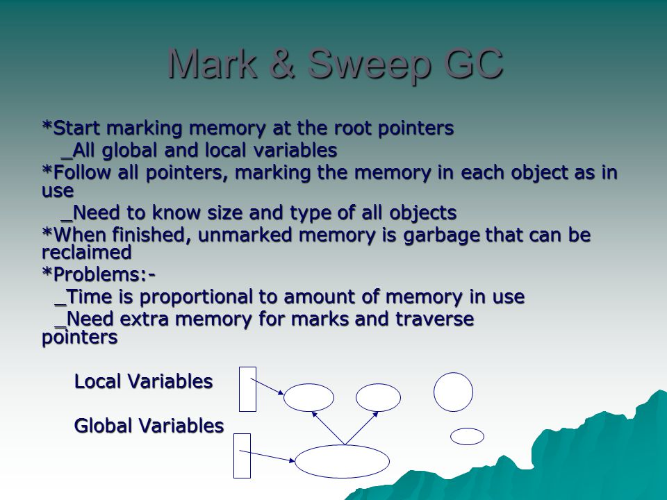 Mark & Sweep GC *Start marking memory at the root pointers _All global and local variables _All global and local variables *Follow all pointers, marki